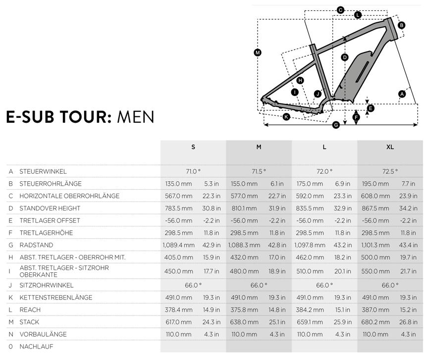 Welche Größe ist beim E-Sub Tour Men die richtige für mich?